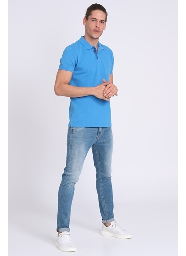 Lufian Polo Yaka Tişört Saks